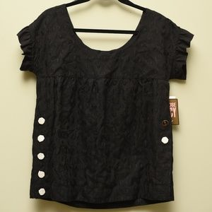 Juicy Couture Black Embroidered Anchor Top - M